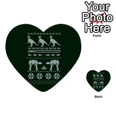 Holiday Party Attire Ugly Christmas Green Background Multi Purpose Cards (heart)  by Onesevenart
