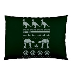 Holiday Party Attire Ugly Christmas Green Background Pillow Case by Onesevenart