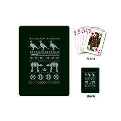 Holiday Party Attire Ugly Christmas Green Background Playing Cards (mini)  by Onesevenart
