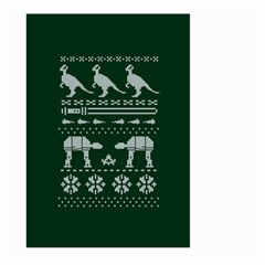 Holiday Party Attire Ugly Christmas Green Background Large Garden Flag (two Sides) by Onesevenart