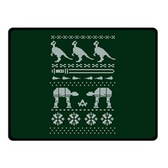 Holiday Party Attire Ugly Christmas Green Background Double Sided Fleece Blanket (small)  by Onesevenart