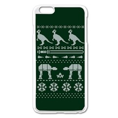 Holiday Party Attire Ugly Christmas Green Background Apple Iphone 6 Plus/6s Plus Enamel White Case by Onesevenart