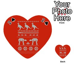 Holiday Party Attire Ugly Christmas Red Background Playing Cards 54 (heart)  by Onesevenart