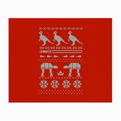 Holiday Party Attire Ugly Christmas Red Background Small Glasses Cloth (2 Side) by Onesevenart