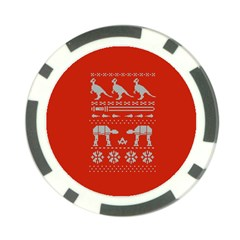 Holiday Party Attire Ugly Christmas Red Background Poker Chip Card Guards (10 Pack)  by Onesevenart