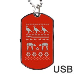 Holiday Party Attire Ugly Christmas Red Background Dog Tag Usb Flash (two Sides)  by Onesevenart