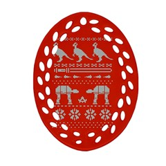 Holiday Party Attire Ugly Christmas Red Background Oval Filigree Ornament (2-Side)  by Onesevenart