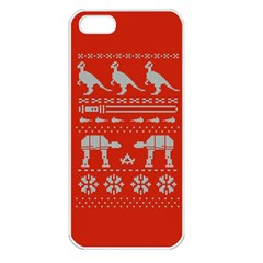 Holiday Party Attire Ugly Christmas Red Background Apple Iphone 5 Seamless Case (white) by Onesevenart