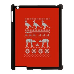 Holiday Party Attire Ugly Christmas Red Background Apple Ipad 3/4 Case (black) by Onesevenart