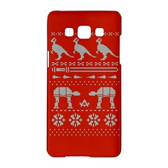 Holiday Party Attire Ugly Christmas Red Background Samsung Galaxy A5 Hardshell Case  by Onesevenart