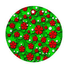 Xmas Flowers Ornament (round)  by Valentinaart
