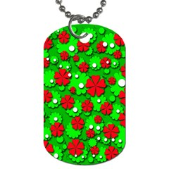 Xmas Flowers Dog Tag (one Side) by Valentinaart