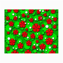 Xmas Flowers Small Glasses Cloth by Valentinaart