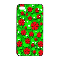 Xmas Flowers Apple Iphone 4/4s Seamless Case (black) by Valentinaart