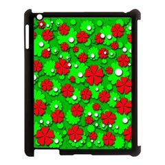 Xmas Flowers Apple Ipad 3/4 Case (black) by Valentinaart