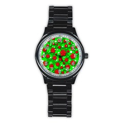 Xmas Flowers Stainless Steel Round Watch by Valentinaart