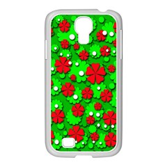 Xmas Flowers Samsung Galaxy S4 I9500/ I9505 Case (white) by Valentinaart