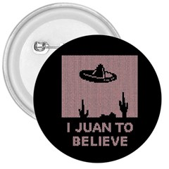 I Juan To Believe Ugly Holiday Christmas Black Background 3  Buttons by Onesevenart