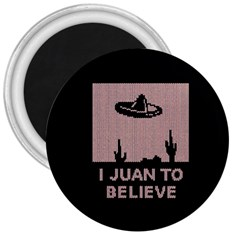 I Juan To Believe Ugly Holiday Christmas Black Background 3  Magnets by Onesevenart