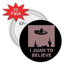 I Juan To Believe Ugly Holiday Christmas Black Background 2 25  Buttons (10 Pack)  by Onesevenart