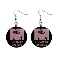 I Juan To Believe Ugly Holiday Christmas Black Background Mini Button Earrings by Onesevenart