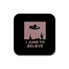 I Juan To Believe Ugly Holiday Christmas Black Background Rubber Square Coaster (4 Pack)  by Onesevenart