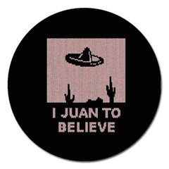 I Juan To Believe Ugly Holiday Christmas Black Background Magnet 5  (round) by Onesevenart