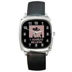 I Juan To Believe Ugly Holiday Christmas Black Background Square Metal Watch by Onesevenart