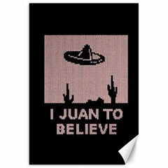 I Juan To Believe Ugly Holiday Christmas Black Background Canvas 20  X 30   by Onesevenart