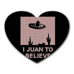 I Juan To Believe Ugly Holiday Christmas Black Background Heart Mousepads by Onesevenart