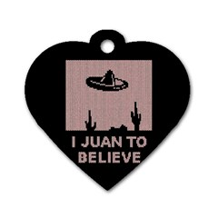 I Juan To Believe Ugly Holiday Christmas Black Background Dog Tag Heart (one Side) by Onesevenart