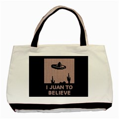 I Juan To Believe Ugly Holiday Christmas Black Background Basic Tote Bag (two Sides) by Onesevenart