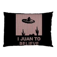I Juan To Believe Ugly Holiday Christmas Black Background Pillow Case by Onesevenart