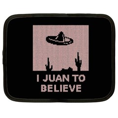I Juan To Believe Ugly Holiday Christmas Black Background Netbook Case (xxl)  by Onesevenart