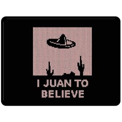 I Juan To Believe Ugly Holiday Christmas Black Background Fleece Blanket (large)  by Onesevenart