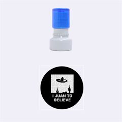 I Juan To Believe Ugly Holiday Christmas Black Background Rubber Round Stamps (small) by Onesevenart