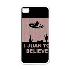 I Juan To Believe Ugly Holiday Christmas Black Background Apple Iphone 4 Case (white) by Onesevenart