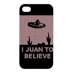 I Juan To Believe Ugly Holiday Christmas Black Background Apple Iphone 4/4s Premium Hardshell Case by Onesevenart