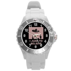 I Juan To Believe Ugly Holiday Christmas Black Background Round Plastic Sport Watch (l) by Onesevenart