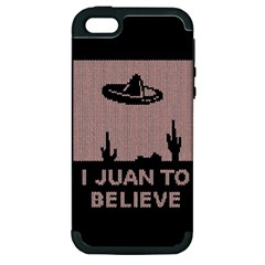 I Juan To Believe Ugly Holiday Christmas Black Background Apple Iphone 5 Hardshell Case (pc+silicone) by Onesevenart