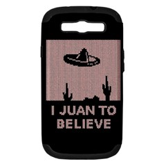 I Juan To Believe Ugly Holiday Christmas Black Background Samsung Galaxy S Iii Hardshell Case (pc+silicone) by Onesevenart