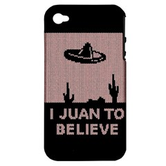 I Juan To Believe Ugly Holiday Christmas Black Background Apple Iphone 4/4s Hardshell Case (pc+silicone) by Onesevenart