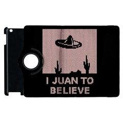 I Juan To Believe Ugly Holiday Christmas Black Background Apple Ipad 2 Flip 360 Case by Onesevenart