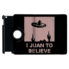 I Juan To Believe Ugly Holiday Christmas Black Background Apple Ipad 3/4 Flip 360 Case by Onesevenart