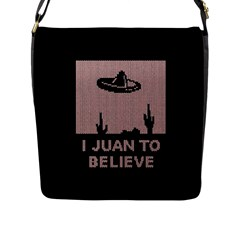 I Juan To Believe Ugly Holiday Christmas Black Background Flap Messenger Bag (l)  by Onesevenart