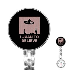 I Juan To Believe Ugly Holiday Christmas Black Background Stainless Steel Nurses Watch by Onesevenart