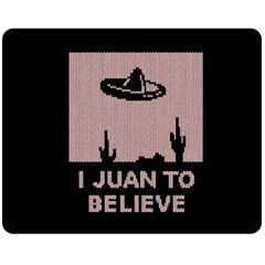 I Juan To Believe Ugly Holiday Christmas Black Background Double Sided Fleece Blanket (medium)  by Onesevenart