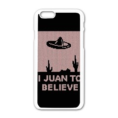 I Juan To Believe Ugly Holiday Christmas Black Background Apple Iphone 6/6s White Enamel Case by Onesevenart