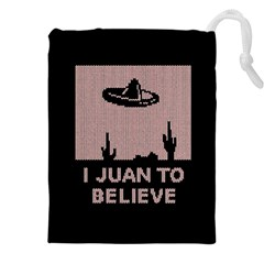 I Juan To Believe Ugly Holiday Christmas Black Background Drawstring Pouches (xxl) by Onesevenart