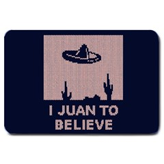 I Juan To Believe Ugly Holiday Christmas Blue Background Large Doormat  by Onesevenart